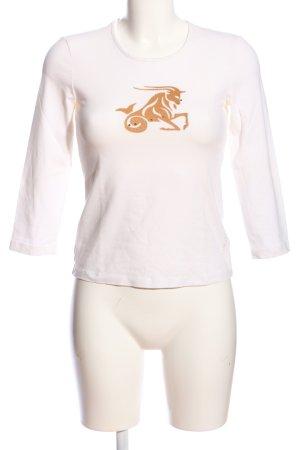Escada Langarm-Bluse weiß-goldfarben Motivdruck Casual-Look