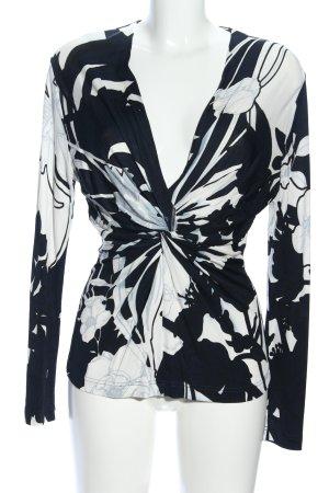 Escada Langarm-Bluse schwarz-weiß Blumenmuster Casual-Look