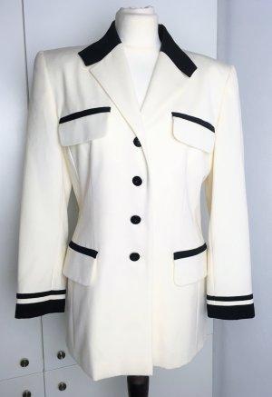"""* ESCADA * Langer Blazer im """" Chanel """" Stil Wolle ecru weiß schwarz klassisch *VINTAGE *  Top Zustand !Gr 38 M ( L )"""