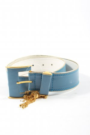 Escada Leather Belt blue-gold-colored casual look
