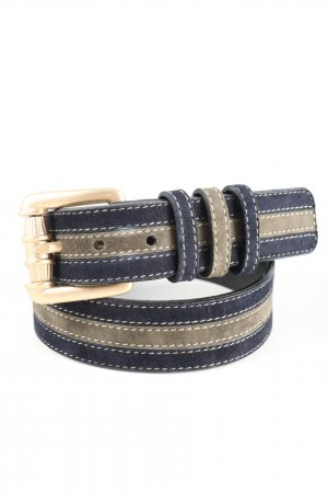 Escada Cintura di pelle blu scuro-cachi motivo a righe stile casual