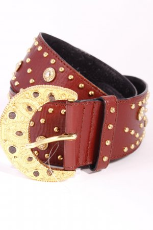 Escada Leather Belt brown-gold-colored extravagant style leather
