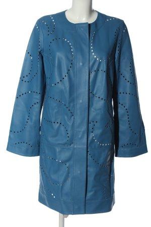 Escada Skórzany płaszcz niebieski W stylu casual