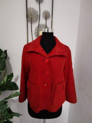 Escada Luxus Kurz Lederjacke Echtleder Velourleder rot Größe 34