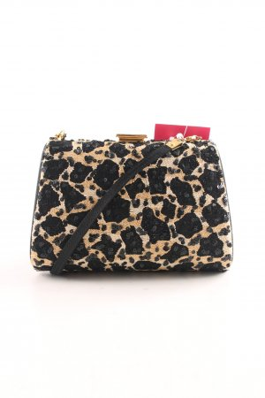 Escada Mini sac blanc cassé-noir motif léopard style extravagant