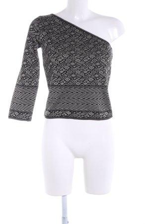 Escada One-Shoulder-Shirt schwarz-wollweiß grafisches Muster Casual-Look