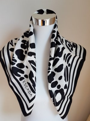 Escada Zijden sjaal zwart-wit Zijde