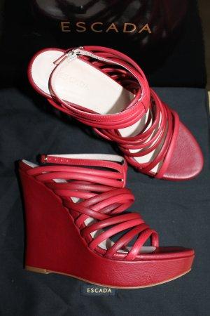 Escada Sandales à talons hauts et plateforme rouge carmin-rouge brique