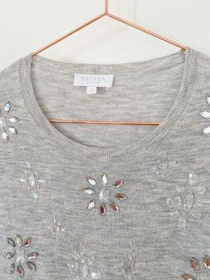 ESCADA Pullover Top mit Strass Blumen Gr. XS