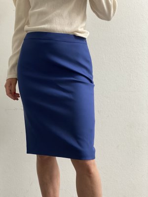 ESCADA Rock Bleistiftrock blau Gr.36 S Wolle Seide