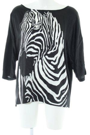 Escada Schlupf-Bluse weiß-schwarz Animalmuster Casual-Look