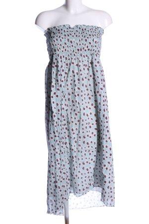 Escada schulterfreies Kleid blau-braun Allover-Druck Casual-Look