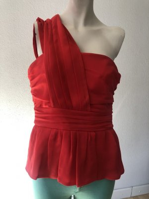 Escada Seiden Oberteil Gr. 36 rot One-Shoulder