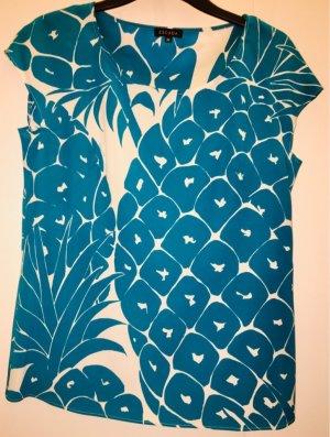 Escada Jedwabny top biały-niebieski Jedwab