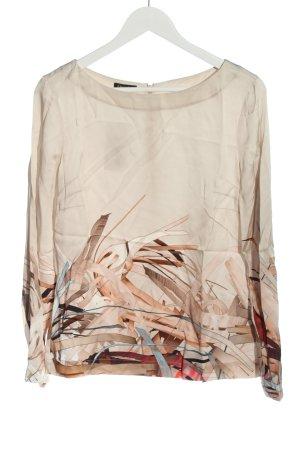 Escada Silk Blouse natural white-brown allover print casual look