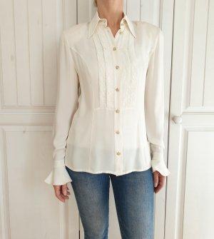 Escada Seidenbluse Seiden Bluse Hemd True Vintage 36 S Weiß Creme Top Spitze Pullover Pulli