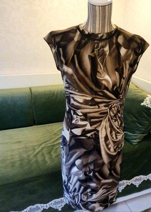 Escada Seidenkleid braun taupe weiß 38 M 36 S Cocktailkleid