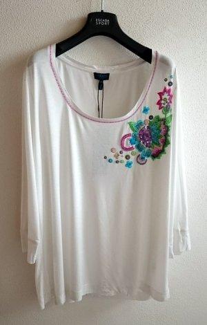 Escada Shirt in weiß mit Stickereien und Swarovski Elementen in Gr. 44
