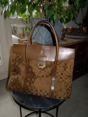 Escada Carry Bag brown-gold-colored leather