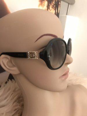 Escada Sonnenbrille schwarz * goldene Details * Strass * graue Gläser mit Farbverlauf