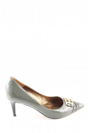 Escada Spitz-Pumps hellgrau Glanz-Optik