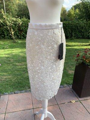 Escada Falda de encaje blanco puro-color oro