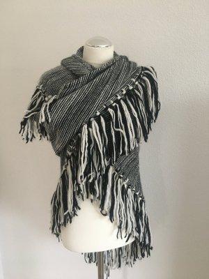 Escada Sport Bufanda de flecos blanco-negro lana de alpaca