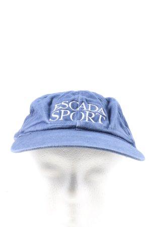 Escada Sport Gorra de béisbol azul letras bordadas look casual