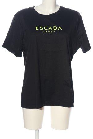 Escada Sport Print-Shirt schwarz-blassgelb Schriftzug gedruckt Casual-Look