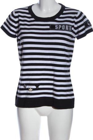 Escada Sport Ringelshirt weiß-schwarz Allover-Druck Casual-Look