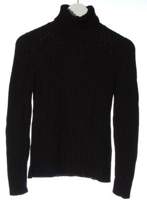 Escada Sport Turtleneck Sweater black cable stitch casual look