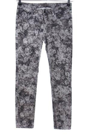 Escada Sport Skinny Jeans schwarz-hellgrau Blumenmuster Casual-Look