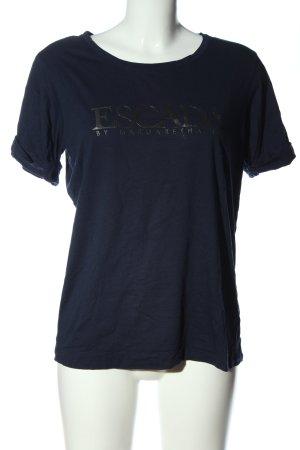 Escada Sport T-Shirt blau-schwarz Schriftzug gedruckt Casual-Look