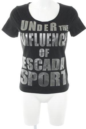 Escada Sport T-Shirt schwarz-silberfarben Schriftzug gedruckt Casual-Look