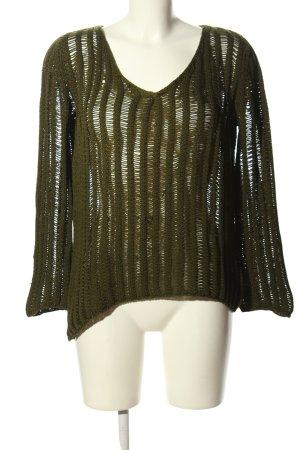 Escada Sport V-Ausschnitt-Pullover khaki Webmuster Casual-Look