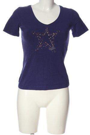 Escada Sport V-Ausschnitt-Shirt blau Motivdruck Casual-Look
