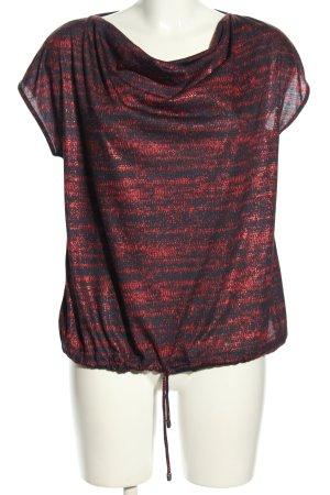Escada Sport Koszulka z dekoltem woda czarny-czerwony Abstrakcyjny wzór