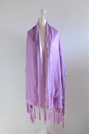 Escada Stola Tuch Schal violett lila flieder Seide Franse Troddel