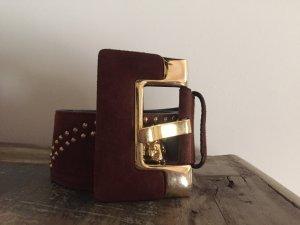 Escada Waist Belt brown-gold-colored leather