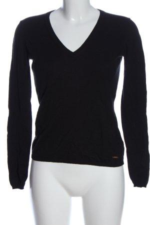 Escada V-Ausschnitt-Pullover schwarz Casual-Look