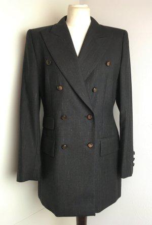 * ESCADA * zwei reihiger Blazer Wolle grau braun Nadelstreifen bronze Gr 38 M
