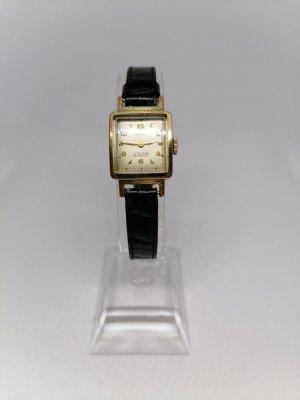 Esco Horloge met lederen riempje zwart-goud