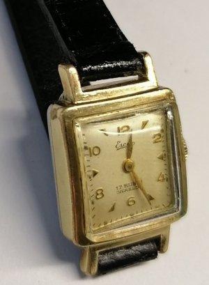 Esco Montre avec bracelet en cuir noir-doré
