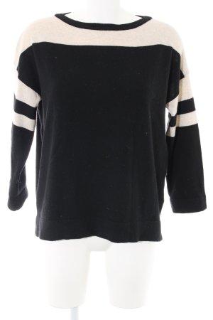 ESISTO Wollpullover schwarz-creme Streifenmuster Casual-Look