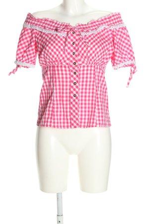 Esmara Blusa tipo Carmen rosa-blanco estampado a cuadros look casual
