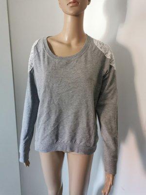 Esmara Damen Sweater Pullover mit weißer Spitze Größe 40/42