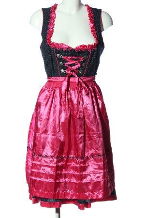 Esmara Dirndl pink-schwarz Punktemuster Glanz-Optik