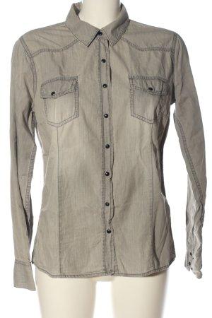 Esmara Camicia denim bianco sporco-grigio chiaro stile casual