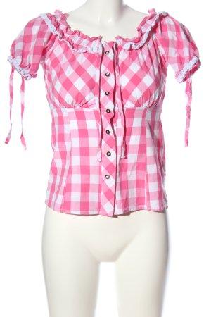 Esmara Kurzarm-Bluse weiß-pink Karomuster Casual-Look