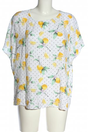 Esmara Kurzarm-Bluse weiß-blassgelb Motivdruck Casual-Look